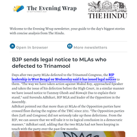 The Evening Wrap:  BJP sends legal notice to MLAs who defected to Trinamool