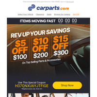 (TODAY ONLY) $5, $10 & $15 Markdowns on Vehicle Parts & More