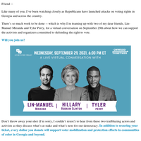 Join me, Lin-Manuel Miranda, and Tyler Perry for a virtual event on September 29th: