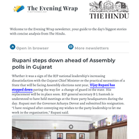 The Evening Wrap:  Rupani steps down ahead of Assembly polls in Gujarat