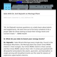 Q&A With Dr. Anil Bajnath on Moringa Plant