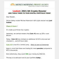 Leaked crypto dossier: Coin #3 could jump any minute