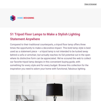 51 Tripod Floor Lamps to Make a Stylish Lighting Statement Anywhere: Interior Design Ideas