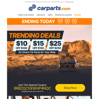 Extended! Markdowns Up to $25 on Vehicle Parts & More
