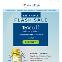 Take your savings! 15% off last chance