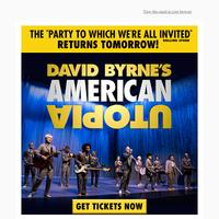 David Byrne's American Utopia returns to Broadway tomorrow!