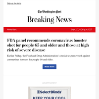 News Alert: FDA panel recommends coronavirus booster shot for people 65 and older and those at high risk of severe disease