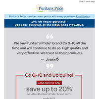 Customer pick: Co Q-10. Now, save up to 20%