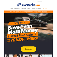 YES, IT'S  EXTENDED! 48HR Flash Deals on Vehicle Parts