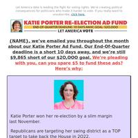 [re: Katie Porter] we need your help