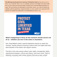 Urgent fights unfolding in Texas – join the ACLU today