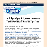 U.S. Department of Labor announces new online dialogue to advance worker equity in its practices and policies