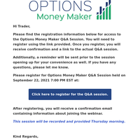 Options Money Maker Q&A Session Access