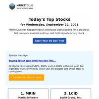 Today's Top Stocks: MRIN, LCID and more
