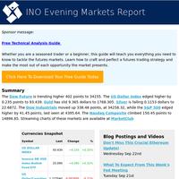 Dowfut +402 Dow +338.48 USD +0.235 S&P +41.45 Gold -9.365 Nas +150.45