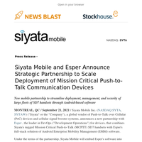 Siyata Mobile & Esper Announce Strategic Partnership to Scale Deployment of Mission Critical Push-to-Talk Communication Devices