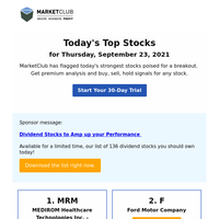 Today's Top Stocks: MRM, F and more