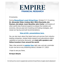 Register for FREE to see Enrique Abeyta at the MoneyShow Virtual Expo