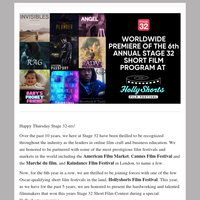 Worldwide Premiere of the 6th Annual Stage 32 Short Film Program at The Hollyshorts Film Festival
