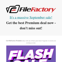 FileFactory September Sale - One Week Only!⚡