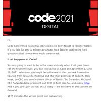 Code Conference Virtual Event — Just 5 Days Away