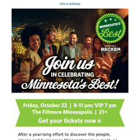 Tickets are on sale now for our Minnesota's Best event!