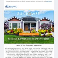 Exclusive $750 rebate on SunPower solar