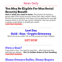 Breaking: Biden Causes Home Buying Grief -  Max Social Security Benefit, You Eligible? - Own a Gun? Read This Now