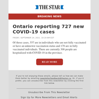 Ontario reporting 727 new COVID-19 cases