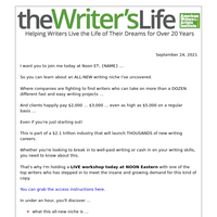 TODAY: New writing niche revealed! (free training)