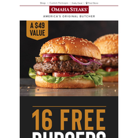Epic burger deal! Get 16 FREE burgers today.