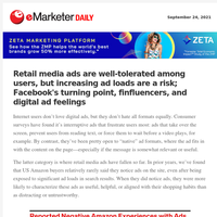 Retail media ads are well-tolerated among users, but increasing ad loads are a risk; Facebook's turning point, finfluencers, and digital ad feelings