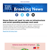 Breaking News: House Dems set 'goal' to vote on infrastructure, social spending package next week