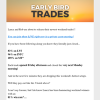 Grab Your Friday WatchlistLive Wiretap Trade Going Out Right Now