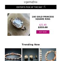 Editor's Pick: 14k Gold Princess Square Ring