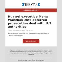 Huawei executive Meng Wanzhou cuts deferred prosecution deal with U.S. authorities