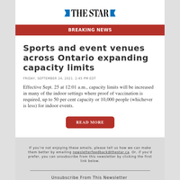 Sports and event venues across Ontario expanding capacity limits