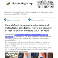 The Evening Wrap:  Must defend democratic principles and institutions, says Kamal Harris