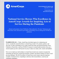 National Service Heroes Win Excellence in AmeriCorps Awards for Inspiring Acts of Service During the Pandemic