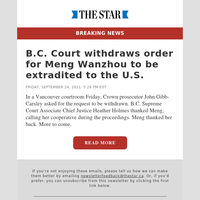 B.C. Court withdraws order for Meng Wanzhou to be extradited to the U.S.