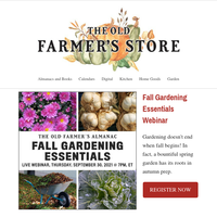 Next week! Fall Gardening Essentials Live Webinar