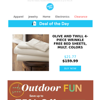 Deal of the Day: Olive and Twill 4-Piece Wrinkle Free Bamboo Bed Sheets, Mult. Colors