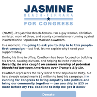 I'm a gay woman, Christian minister, mom of 3, and county commissioner running to defeat GOP Insurrectionist Madison Cawthorn -- will you chip in $5 to help me?