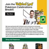 New Pokémon Celebrations BreakX With Unlisted Leaf 🎉