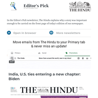 Editor's Pick: India, U.S. ties entering a new chapter: Biden