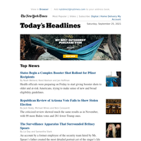 Today's Headlines: States Begin a Complex Booster Shot Rollout for Pfizer Recipients