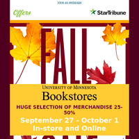 Fresh For Fall. Save 25-50% Off At U of M Bookstores