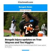 Bengals News:Bengals injury updates on Trae Waynes and Tee Higgins