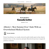 Canada Letter: Alberta's Pandemic Reversal