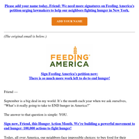 Re: 100,000 signatures to fight hunger!
